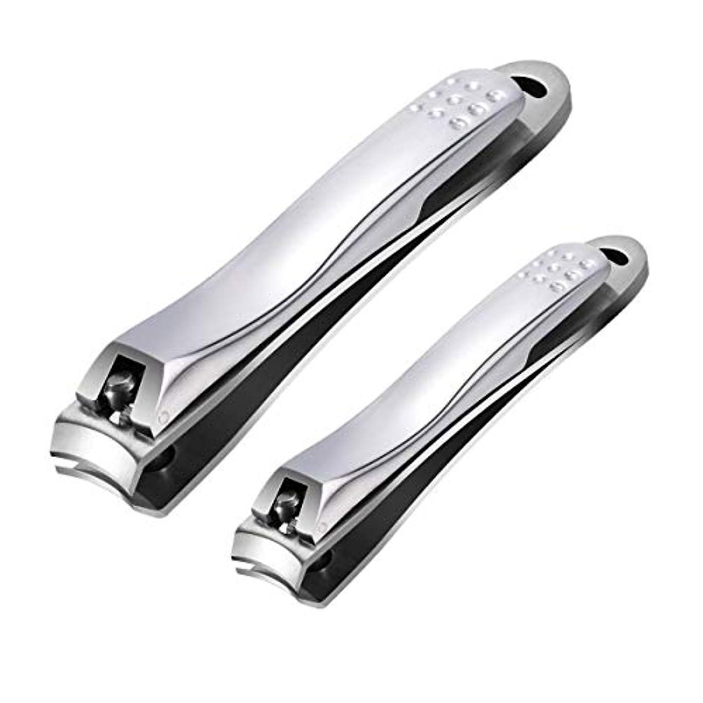 つばパブこんにちはつめきり ステンレス製高級 爪切り 爪やすり付き 手足はがね ツメキリ 握りやすい スパット切れる レザーケース付き付属 (2サイズ)