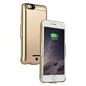 iPhone7/iPhone6/iPhone6s共用 4.7インチ 正規品 大容量5200mAh 超薄 モバイルバッテリー内蔵ケース 一体型バッテリーケース 安全 急速充電 スタンド機能付き (ゴールド)