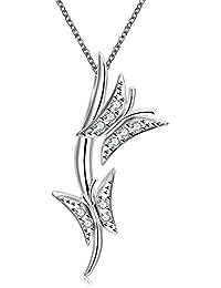 lureme ファッションエレガントなスタイルのシルバーメッキダブルバタフライペンダントネックレス(01003750)