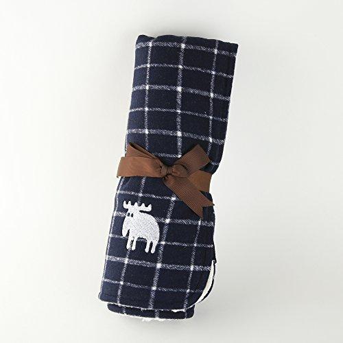 ふわふわ暖か ブランケット 着る毛布 ひざ掛け 肩掛け ボア ネイビー チェック 70×100cm 丸洗い可 メンズ レディース 男女兼用 北欧 moz モズ FARG&FORM社 フェルグ&フォルム
