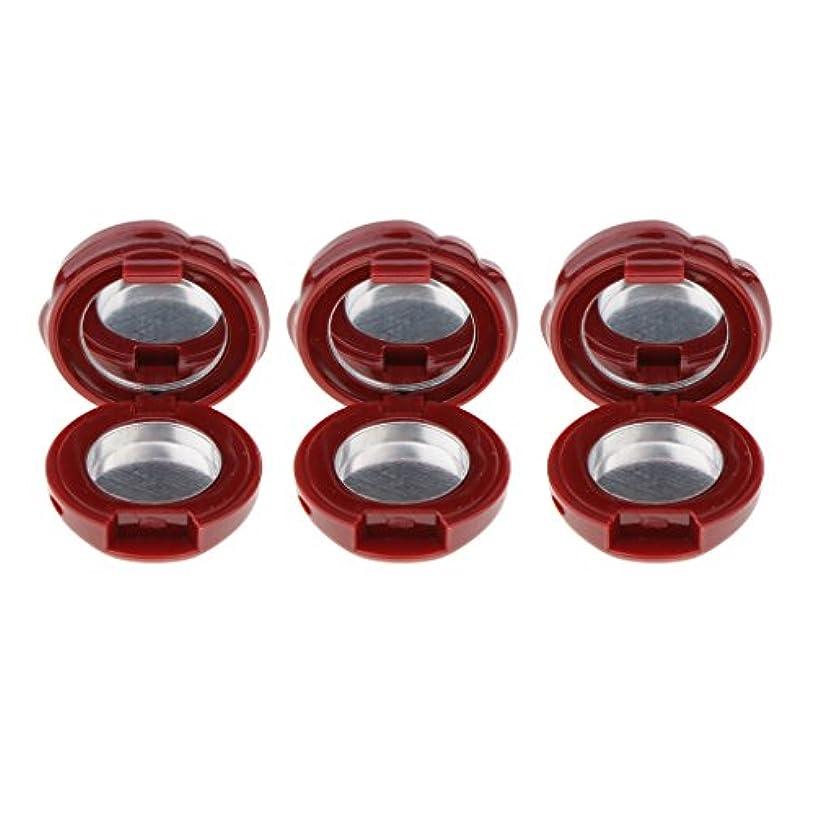 協力的姿勢自発的3ピース/セット空のプラスチックリップグロス口紅アイシャドーパウダーdiy化粧ケースアイズフェイシャルパウダー収納パレット付きミラー - ワインレッド