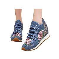[Fanwer] 中国スタイルの花の刺繍靴軽量フラットスニーカーウォーキングダンスシューズボタン女性 (ブルー,24.5cm)