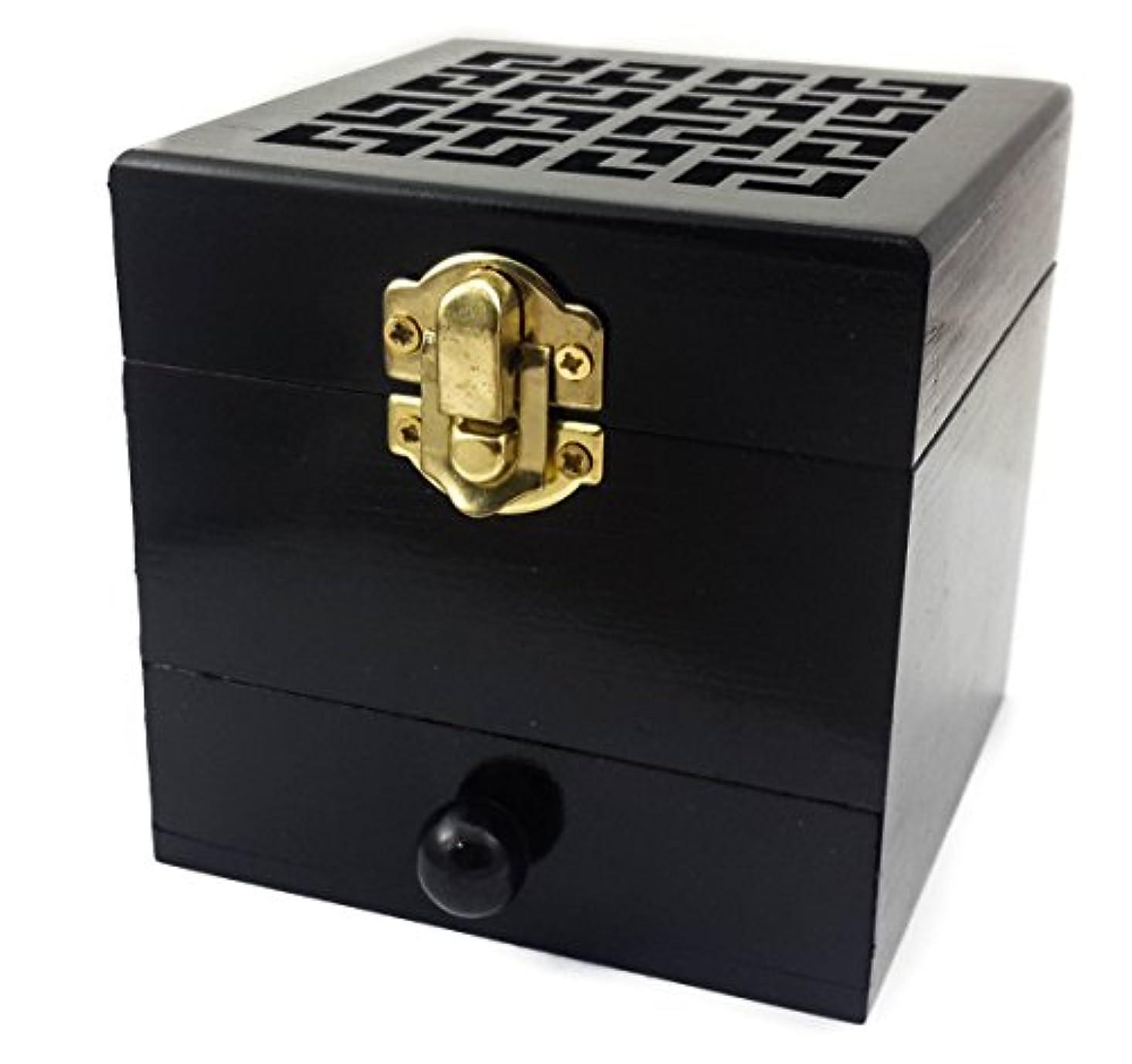 測定可能薄汚い知的ナザレスStore木製チャコールIncense Burner樹脂ホルダーブラック天然木製ボックスDistiller Vessel