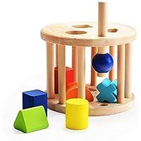 木のおもちゃ くるくる積み木 形合わせ 型はめ 立体パズル 幾何認知 色認知 キッズ 幼児 女の子 男の子 可愛い お誕生日プレゼント 出産祝い 天然木材 ブロック 1歳/2歳/3歳