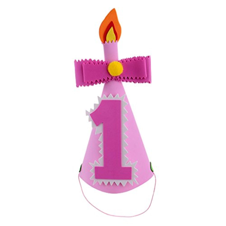ノーブランド品 赤ちゃん 幼児 誕生日 パーティー 帽子 コーン 全2色3種類 - 数字1, ピンク
