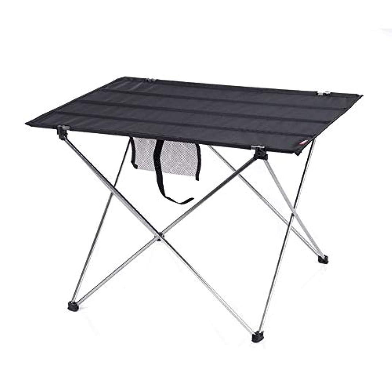 ドナウ川スカウトルーキーZR アルミ製テーブルトップ付きポータブルキャンプサイドテーブル:ピクニック、キャンプ、ビーチ、ボート用バッグに入ったハードトップの折りたたみ式テーブル、バーナー付きダイニング&クッキングに便利、清掃が簡単 (色 : Black, Size : L)