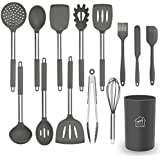 Silicone Cooking Utensil Set, AILUKI Kitchen Utensils 14 Pcs Cooking Utensils Set,Non-Stick Heat Resistant Silicone,Cookware with Stainless Steel Handle - Grey Gray