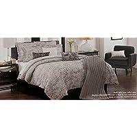 Tahariホーム寝具スクロールMedallion Grayトープリネンコットンブレンド3ピース羽毛布団カバーとシャムセット、フル/クイーン