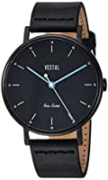 Vestal ' Sophisticate ' Swiss QuartzステンレススチールandレザーDress Watch, Color : Black (Model : sp42l07。BK)