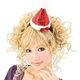 【クリスマス小物】キラキラサンタ帽子カチューシャ(1個)  / お楽しみグッズ(紙風船)付きセット
