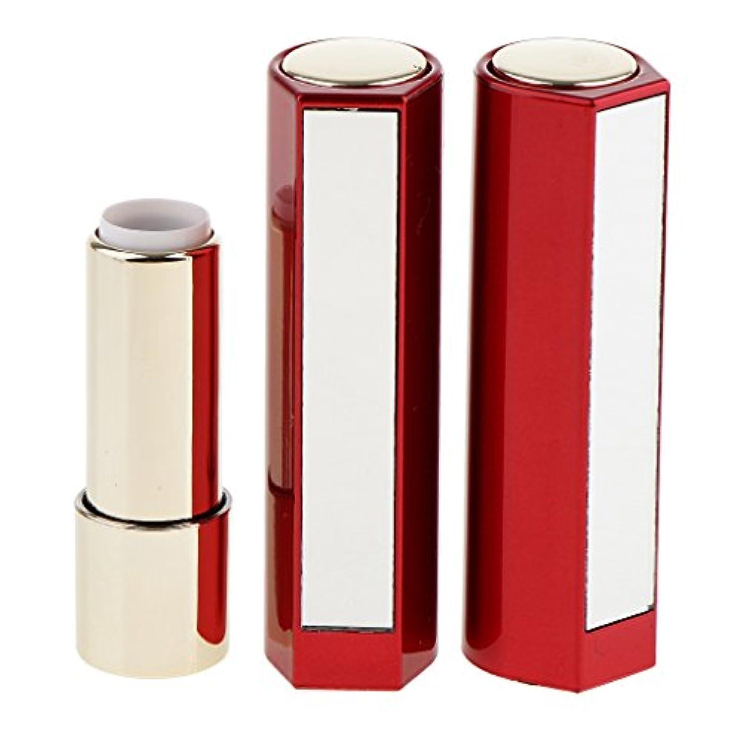 骨髄累積比類のないFenteer 2本 空チューブ リップスティックチューブ 12.1MM口紅チューブ用 口紅チューブ リップクリーム DIY プラスチック製 2色選べる - 赤