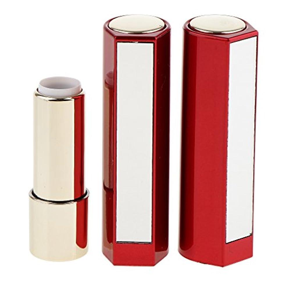 九いくつかのファセット2本の空の口紅の管のリップクリームの容器DIYの化粧品の構造用具 - 赤