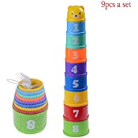 EshylalaのセットをStacking Cup BabyスタックUp Cupsおもちゃwith Figures Letters Baby初期の教育