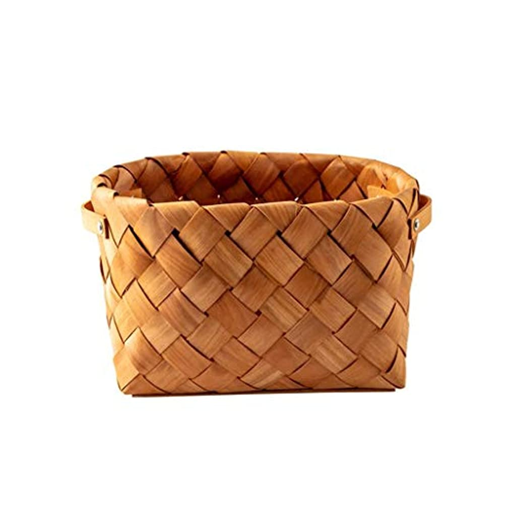 困惑平らな間隔SMMRB 収納バスケット単板織りバスケット装飾、手作り、原色、2サイズ (サイズ さいず : 30*23*18.5cm)