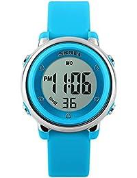 キッズウオッチ 子供腕時計 デジタル 防水 七彩LEDライト アラーム付き 男の子 女の子 ギフト用 ブルー