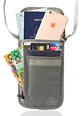 RFID Blocking Travel Wallet Passport Holder, ELETROP Neck Stash Pouch Security Travel Wallet, Anti-Theft Passport Zipper Bag Concealed Neck Wallet, Backpacker Wallet for Gap Year Backpacking Trip