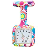 Lovke Square Nurse Watch Colorful Square Bubbles Patterned Silicon Rubber Fob Watches