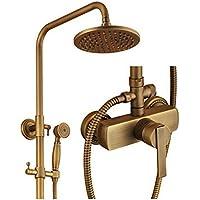YYF-SHOWER 創造性 真鍮継手、 壁掛け式 8インチ 15°回転 スプレーラウンドのトップ 滝 シャワーセット、 ハンドシャワー シングルハンドル コンバーター 冷たいお湯 3ホールマウント おしゃれな ファミリーホテル 蛇口 1.5mホース (色 : ブラス ぶらす)