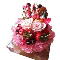 誕生日プレゼント ミッキー ミニー 花束風 ディズニー フラワーギフト バースデー ミッキー&ミニーB フラワーケーキ プリザーブドフラワー使用 ケース付き