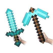 フラット【Flat】 Minecraft マインクラフト ソード&ピックアックス&クリーパー、スティーブ コスプレ段ボール帽子【Flatオリジナルセット】 (ブルー)