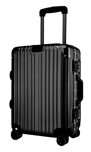 クロース(Kroeus)スーツケース TSAロック搭載 キャリーケース アルミフレーム 機内持込可 ベルトフック付き 旅行 軽量 8輪 鏡面仕上げ ブラック M