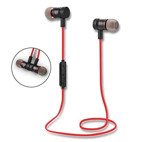 ALLUCKER レッドRed ワイヤレス イヤホン Bluetooth4.1 スポーツイヤホン 高音質 ノイズキャンセリング搭載 磁気吸引式 ジョギングに最適 iPhone/iPad/Android Bluetooth搭載デバイス対応