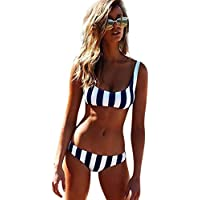Gillberry Women's Striped Swimwear Set Padded Bra Two Pieces Swimsuit Bandage Bikini Swimming Costume Tummy Control Bathing Suit