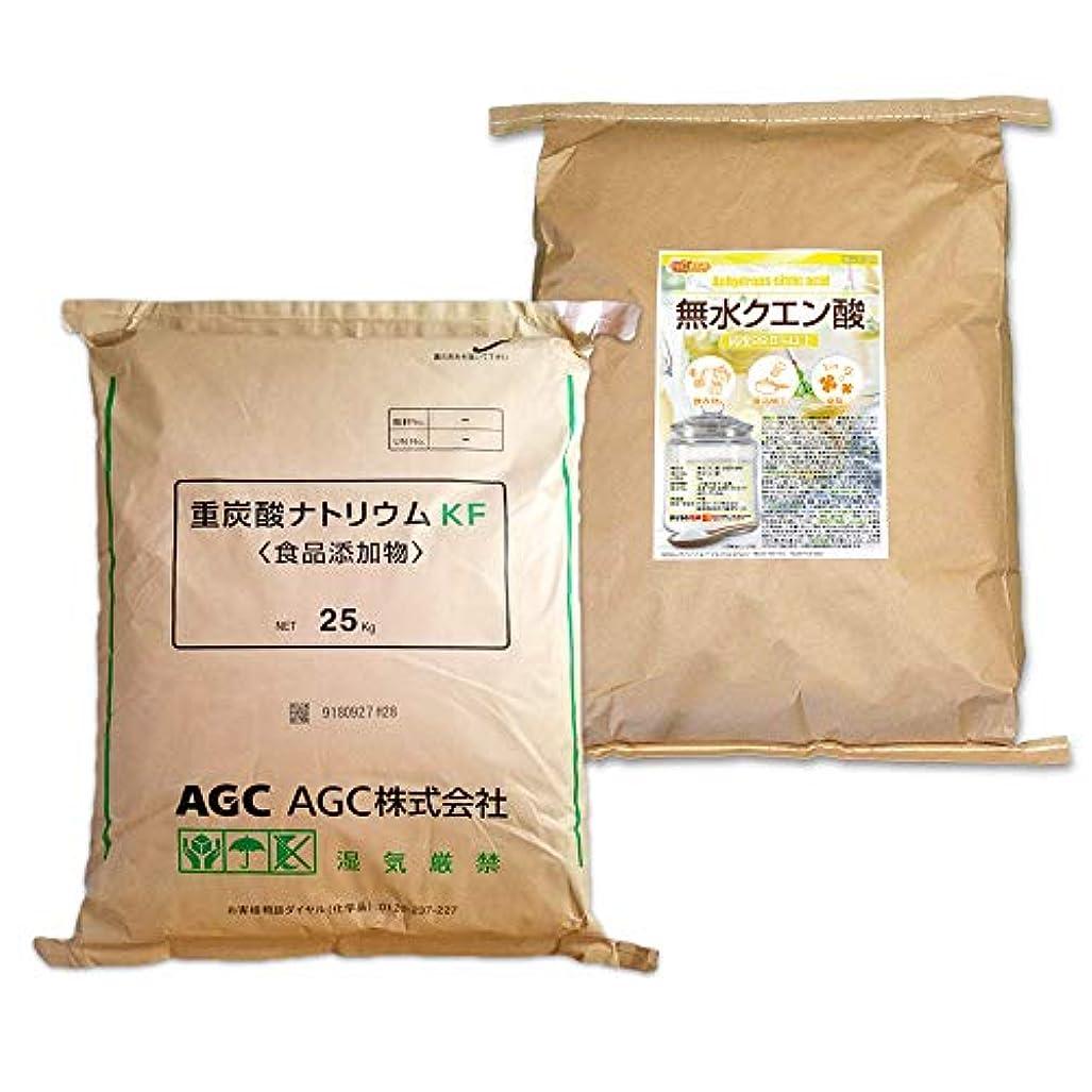 スペイン遠え遡るAGC製 重曹 25kg + 無水 クエン酸 25kg セット [02] 【同梱不可】NICHIGA(ニチガ)