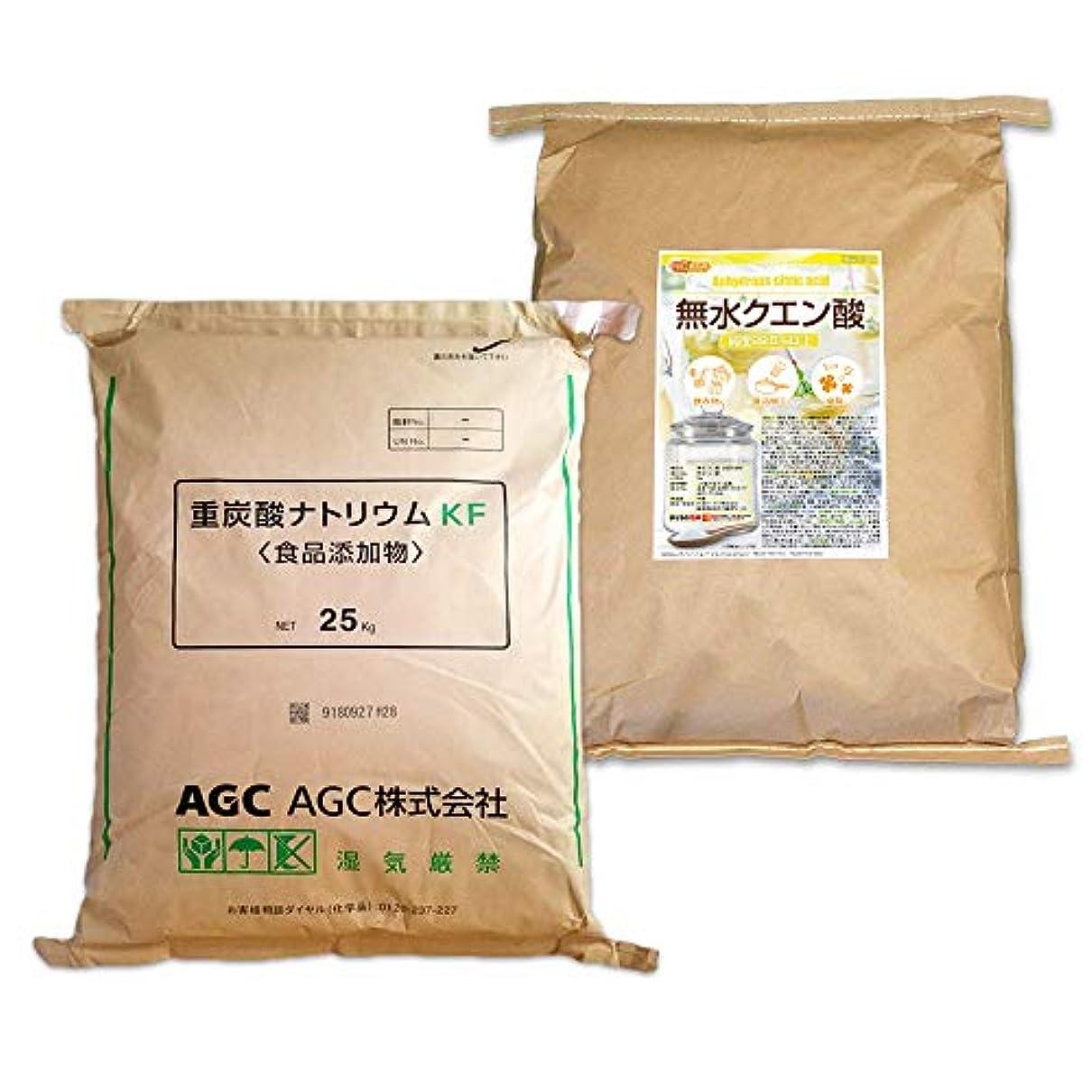 領収書感染する拡散するAGC製 重曹 25kg + 無水 クエン酸 25kg セット [02] 【同梱不可】NICHIGA(ニチガ)