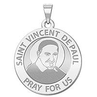 Saint Vincent de Paul Religious Medal 14K黄色またはホワイトゴールド、またはスターリングシルバー
