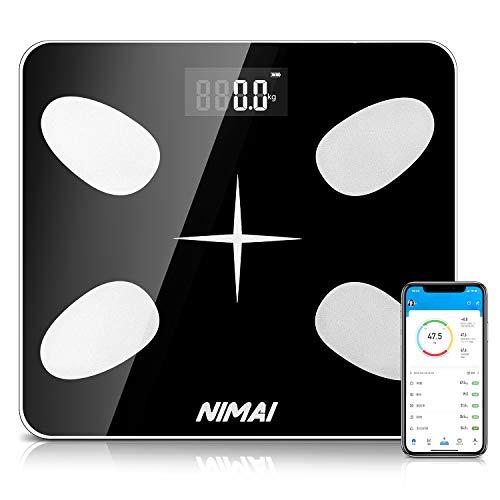体重・体組成計 nimai 体重計 体脂肪計 体組成計 体脂肪率/体水分率/基礎代謝量/骨量/内臓脂肪レベル/BMI/筋肉の重量など測定可能 Bluetooth対応 iOS/Androidアプリで健康管理 縄跳び付き