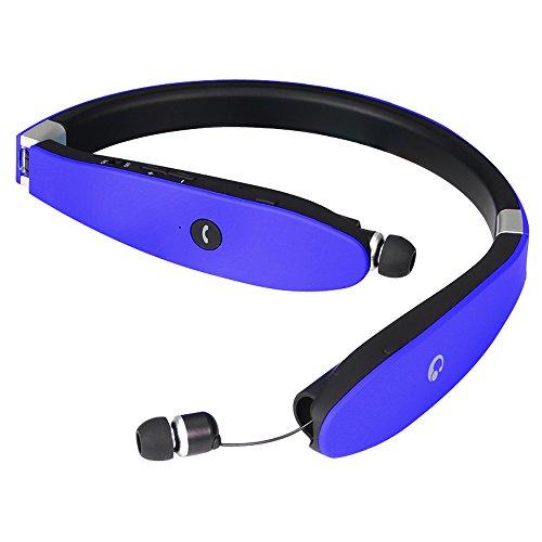 BEST Bluetooth 4.1スポーツイヤホン ブルートゥース イヤホンiphone7対応 白黒赤靑4色 ネックバンド型 長時間再生 CVC6.0ノイズキャンセルテクノロジー搭載 防水 防滴 内蔵式マイク ヘッドフォン iPhone iPad Android などの各機種に対応(ブルー)