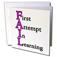 3drose Fail最初しようで学習ピンクグリーティングカード、6インチx 6インチ、12のセット( GC _ 218568_ 2)