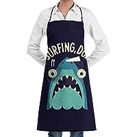 前掛け 防水 防油 防汚 ポケット付き 料理 キッチン 喫茶店 可愛い 男女兼用 シンプル ベーシック デザイン驚くサメ