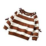 幼児の子供の赤ん坊の ストライプ の ちょう結びの ラウンドネック長袖シャツ OVERMAL の家の服 (茶色の, 3T) OVERMAL2017102802