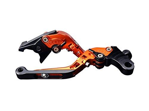 NSR250 CBX400/550 他 アルミ削り出し 可倒&角度&伸縮 調整機能付き ビレット ブレーキ&クラッチレバー 左右セット 6色展開 オレンジ
