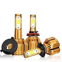 SODIAL 2個H4 車のLedヘッドライトの電球 6000K 10000Lmオートヘッドライト