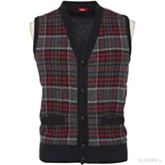 Wool Button Front Sweater Vest 1363147: Grey