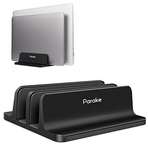 (アップグレード版)Parake スタンド ノートパソコンスタンド PCホルダ pcスタンド 縦置き 冷却 収納 アルミ MacBook/iPad/laptop/タブレット 調整可能 滑り止め 安定 (ブラック, 2台収納)