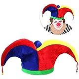 Coxeer Jester 帽子 面白い カラフル ピエロ 帽子 コスチューム 帽子 マルディグラ パーティーアクセサリー パーティーハット