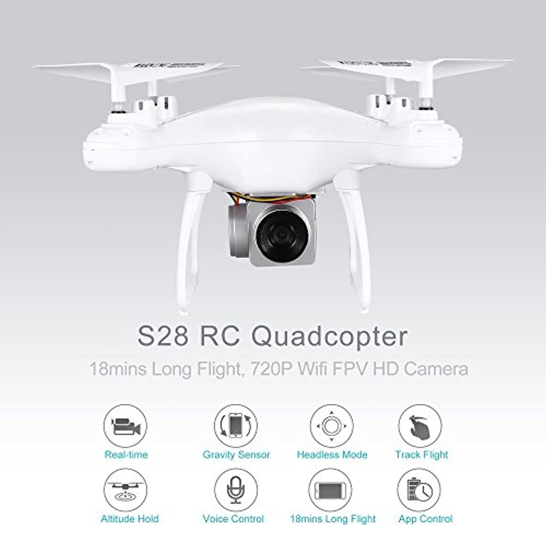 S28 RCドローン2.4Gクアドコプター720P Wifi FPVカメラ18分ロングフライトの高度