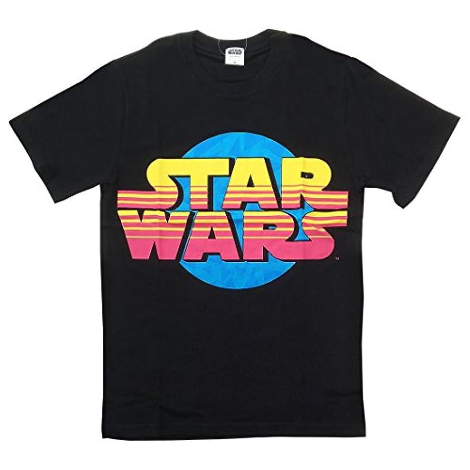 扇動分解するかわいらしいスター?ウォーズ Tシャツ STAR WARS カラフル ロゴ ブラック Lサイズ SWAP657