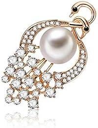 SKZKKラブバード真珠の女性のためのブローチとピンジュエリー女性のための女性のためのアクセサリー合金メッキクリスタルダイヤモンドブローチピンのための衣類中空