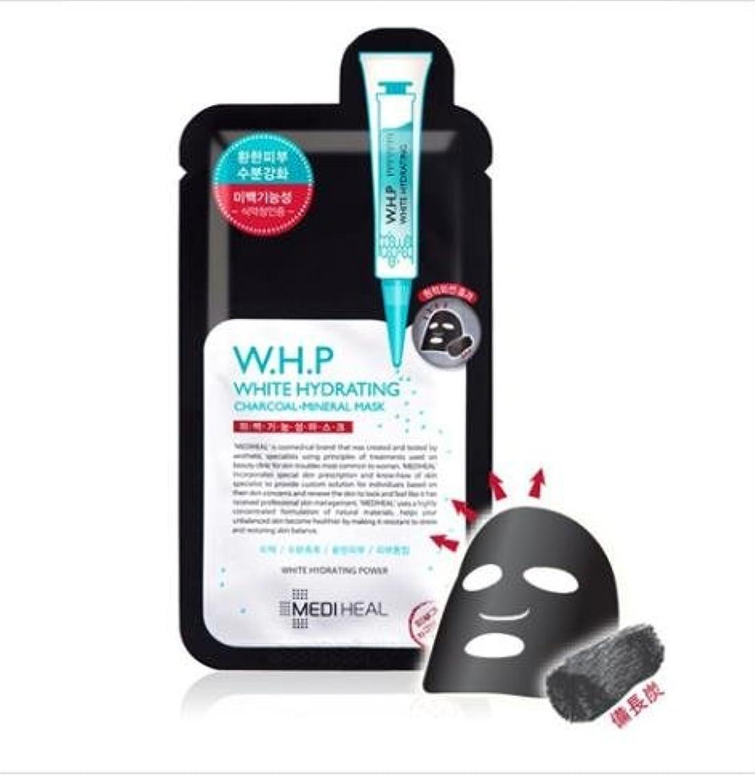 鎮静剤上下する喜び[メディヒール] Mediheal [W.H.P 美 白水分 ミネラル 炭 マスクパック (10枚)] (W.H.P White Hydrating Charcoal Mineral Mask (10EA)) [並行輸入品]