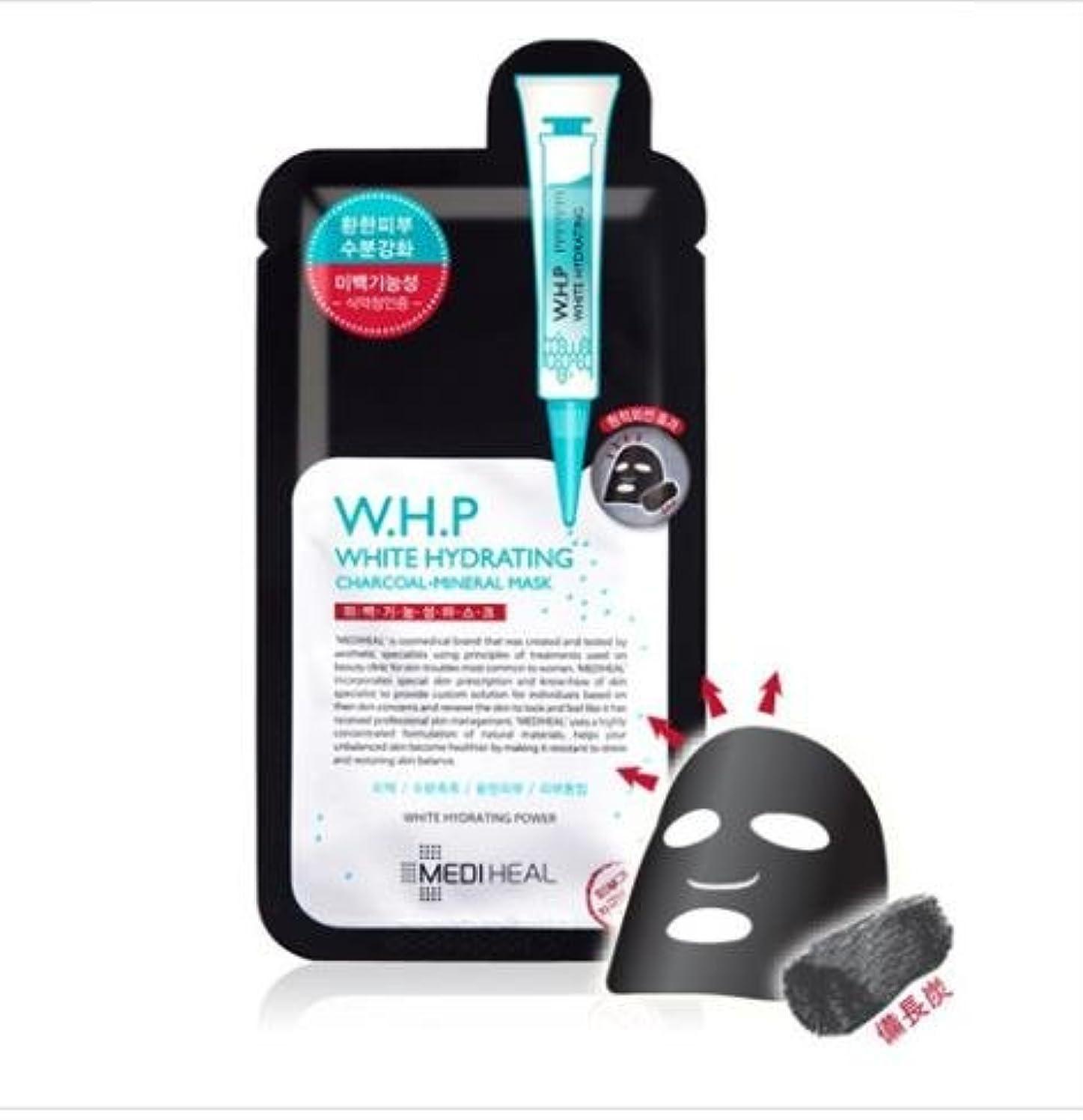 聖人規模研磨剤[メディヒール] Mediheal [W.H.P 美 白水分 ミネラル 炭 マスクパック (10枚)] (W.H.P White Hydrating Charcoal Mineral Mask (10EA)) [並行輸入品]