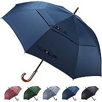 Prospo 55/62 inch Wooden J Handle Hook Golf Umbrella Classic Large Auto Open Double Canopy Vented Windproof Rainproof Walking Stick Umbrella for Men Women