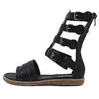 サンダルレディル シンプルで快適な軽い女性フラットサンダルローマの靴休暇旅行の女性サンダル (色 : ブラック, サイズ : 235)