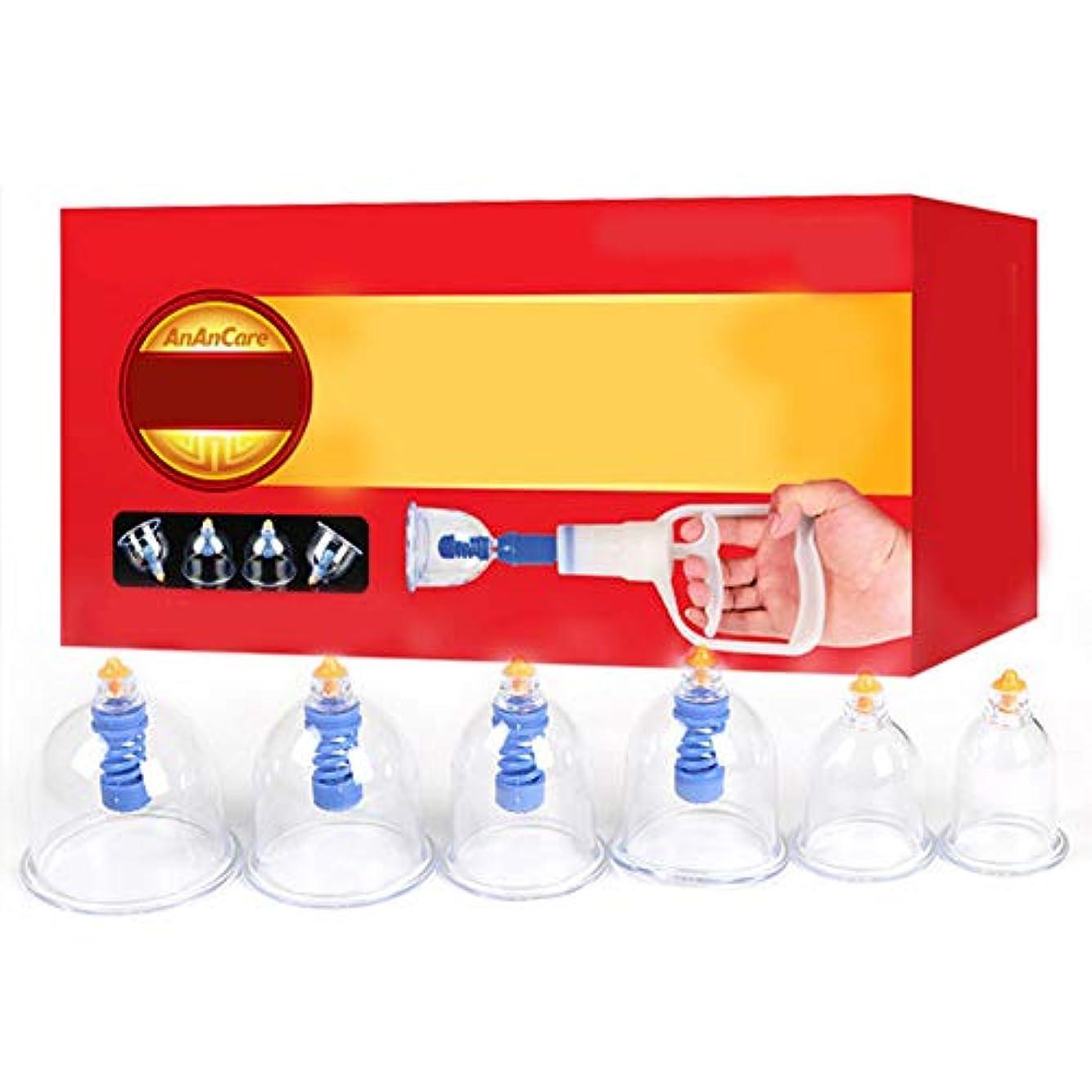 分離する省欲望6カップマッサージカッピングセット、真空吸引式中国式ツボ療法、在宅医療、女性と男性用、ポンプガンによるストレスと筋肉の緩和