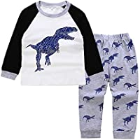 Happy Town Toddler Baby Boy Clothes Long Sleeve Dinosaur Shrit Top+ Cotton Elastic Sweatpants Fall Outfits 2Pcs