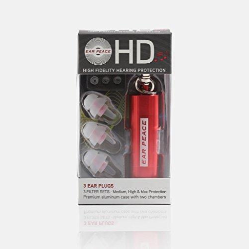 耳栓ライブ用 EarPeace HD 3種の遮音性能/イアーピースHD ライブ用 交換フィルター付 … (シングル, 赤ケース/クリアプラグ)